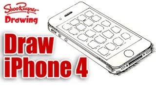 How to draw an iPhone 4 real easy for kids and beginners