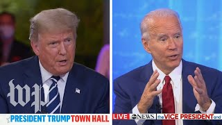 Moderators press Trump, Biden at dueling town halls
