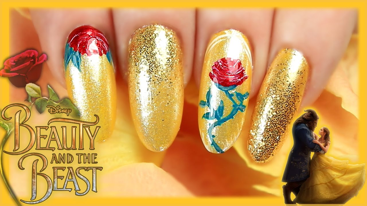 Beauty and the beast nail art beauty and the beast nails belle beauty and the beast nail art beauty and the beast nails belle nails 2017 yellow gold glitter prinsesfo Gallery