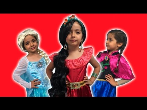 Thumbnail: Disney Princess In Real Life - Elsa And Anna + Elena Of Avalor + 5 Surprise Eggs + Kinder Egg! NEW!
