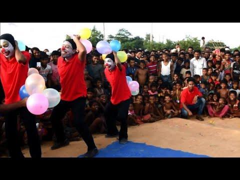 Clowns bring laughter to traumatised Rohingya children