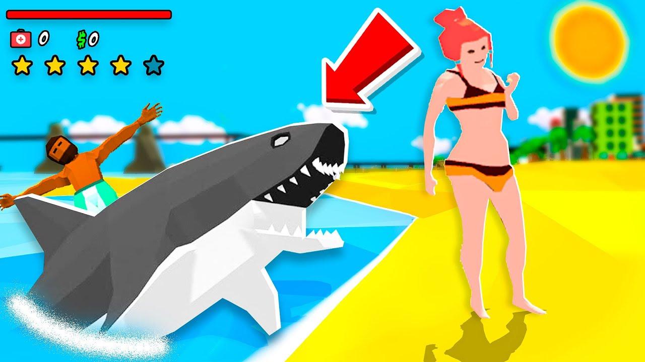 VIREI UM TUBARÃO E ENGOLI AS PESSOAS NA PRAIA (Shark Simulator🦈)