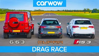 AMG G63 v Audi RS3 v Leon CUPRA R – DRAG RACE, ROLLING RACE & BRAKE TEST