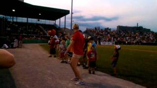 Not Dancing Homer but Dancing Woolie! Classic mid game minor league baseball entertainment
