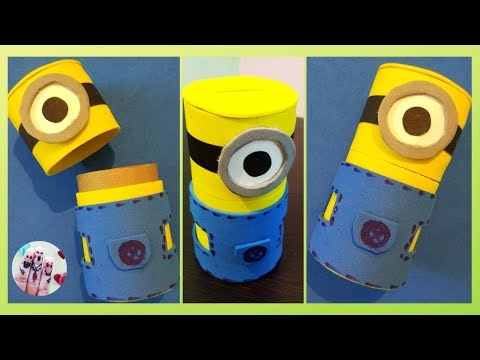 DIY Minion Piggy Bank from Cardboard tube | Minion money Box For Kids | Kids craft ideas