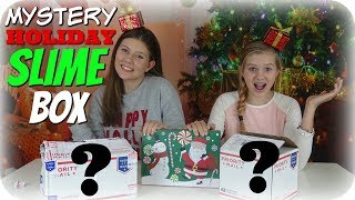 HOLIDAY MYSTERY SLIME BOX || CHRISTMAS 2017 || UNBOXING || Taylor and Vanessa