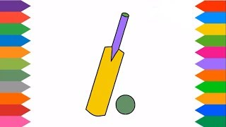 Cricket Bat and Ball Coloring Pages For Kids | Kids Coloring & Drawing