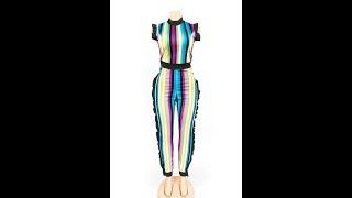Vertical stripes color jumpsuit Wholesale Jumpsuits