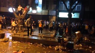 Chuva de garrafas entre Argentinos e Brasileiros em Belo Horizonte (21/06/2014)
