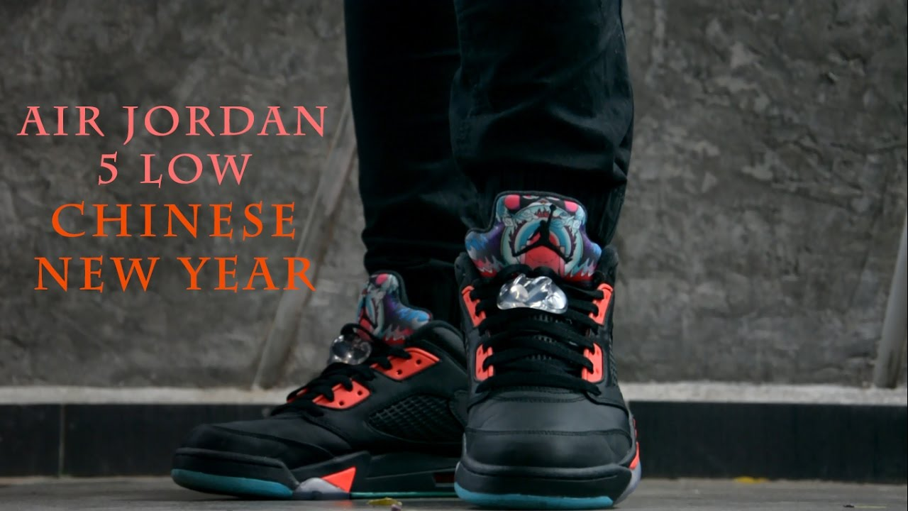5c847d13baf1d5 Air Jordan 5 Low  Chinese New Year  - Close Up   On Feet - YouTube
