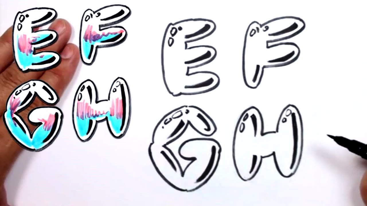 Vector hand drawn graffiti bubble letters alphabet