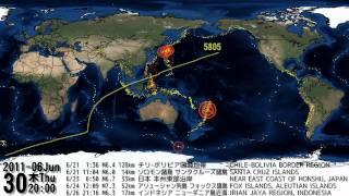 世界の地震 発生地点・規模・時刻分布図(2011/10/15)