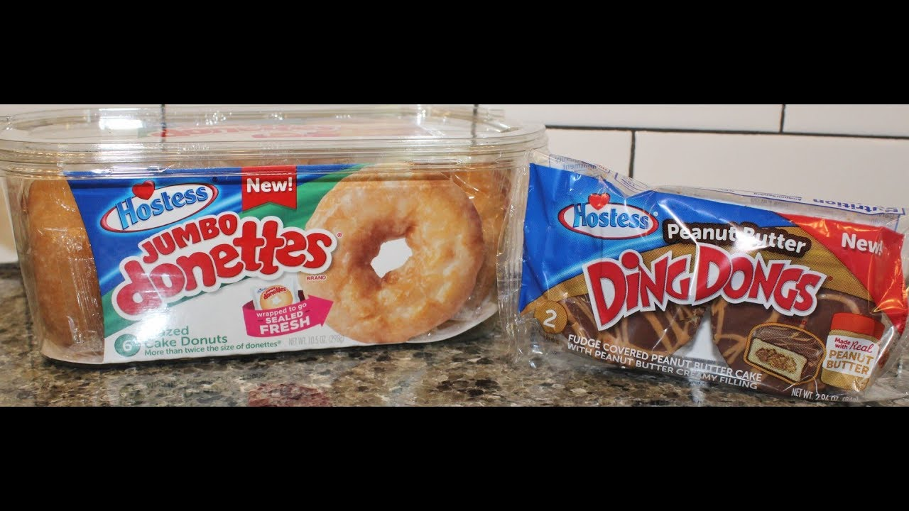 Hostess Jumbo Donettes Glazed Cake Donuts Peanut Butter Ding Dongs Review
