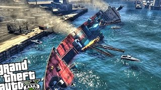 Huge Sinking Cargo Ship! - GTA 5 MOD