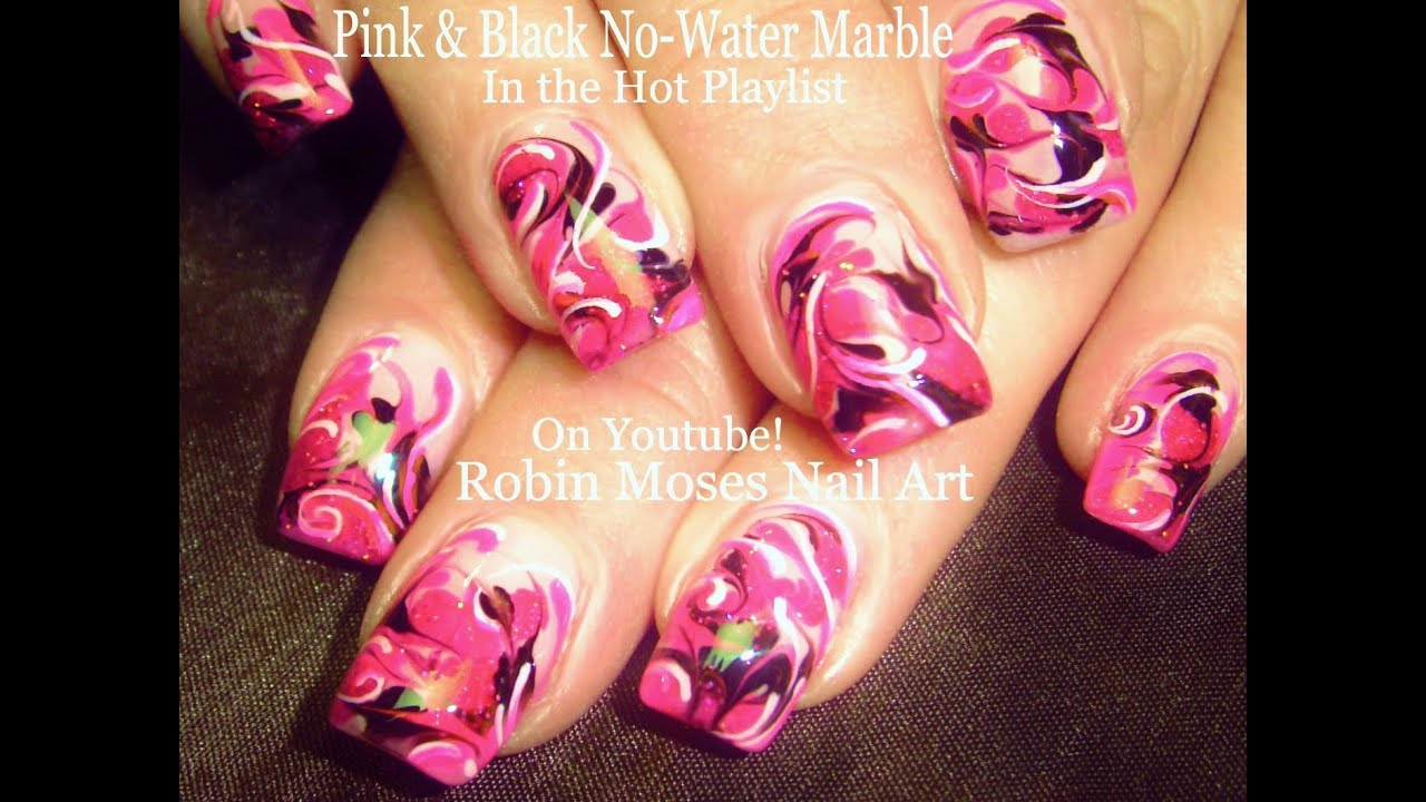 No Water Needed - Marble Nail Art Tutorial - YouTube