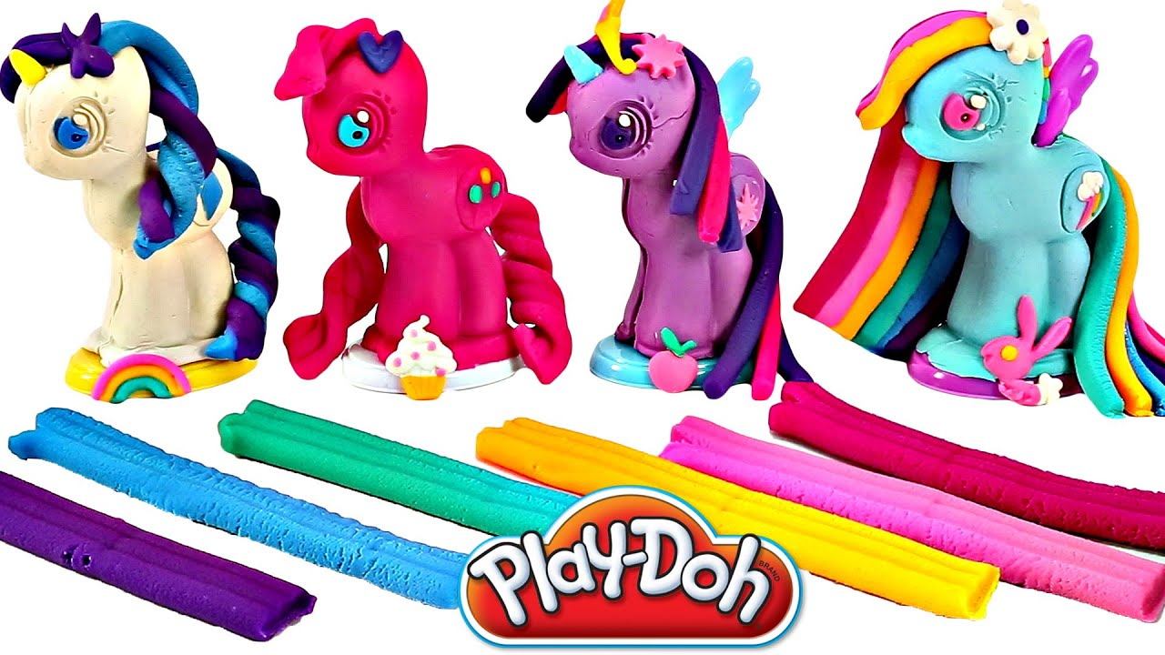 Play Doh My Little Pony Make N Style Ponies 1 Rainbow Dash Pinkie Pie Twilight Sparkle Rarity