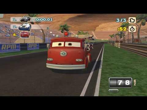 Red Fire Truck, Lightning McQueen, Tokyo Mater, Fillmore - Disney Cars Racing on Track  