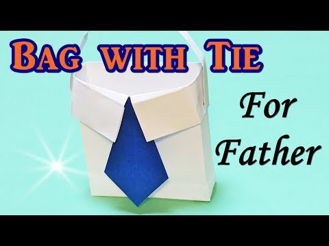 Origami Bag Shirt with Tie For Father's Day Gift | DIY Paper Craft Instruction Easy for Kids