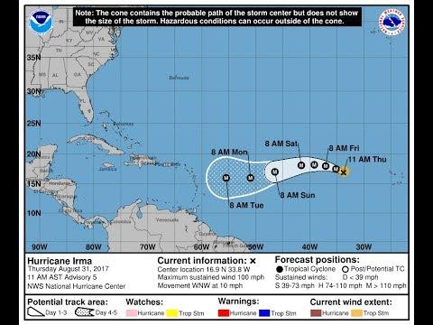 Hurricane Irma 100 mph Forecast to Major Hurricane Next Few Days. Watching Southwest Gulf of Mexico