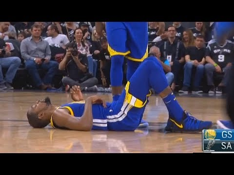 Kevin Durant Injury - Suffers Ankle Sprain with Shaun Livingston! Warriors vs Spurs
