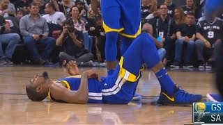 Kevin Durant Injury Suffers Ankle Sprain with Shaun Livingston Warriors vs Spurs