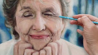 REALISTIC OIL PAINTING DEMO - beautiful wrinkled / old / elder woman portrait by Isabelle Richard
