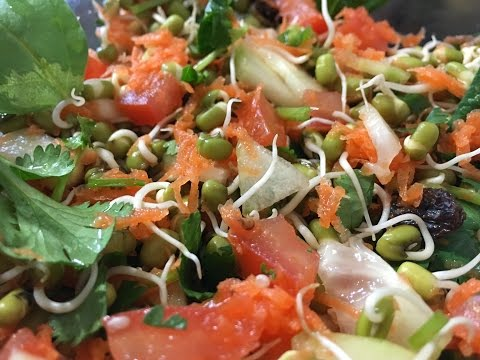 Healthy Moong Sprouts Salad in telugu - Weight loss food - By Sritha's Kitchen