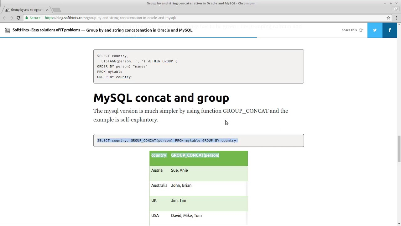 group by and string concatenation in oracle and mysql