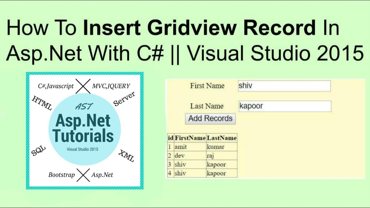 How to insert gridview record in asp net with c#    vs2015