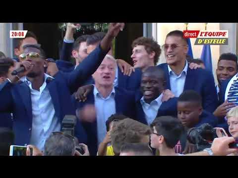 Pogba & Deschamps singing N'Golo Kanté chant!