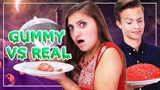 REAL VS GUMMY FOOD CHALLENGE | HALLOWEEN 🎃 | Kamri Noel