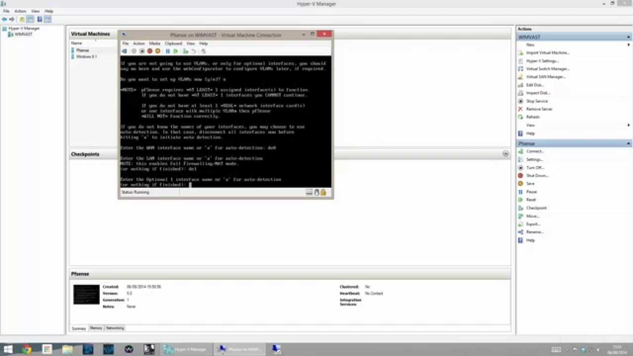 Installing Pfsense in Windows Hyper-v