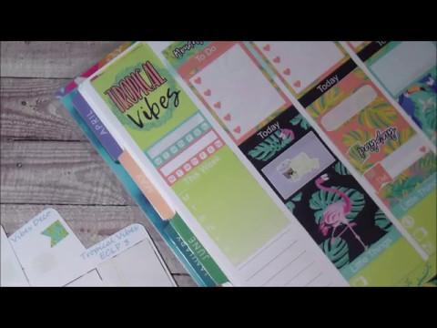 Plan with me! Tropical Vibes! No White Space Spread (+ Mini Kit Monday)