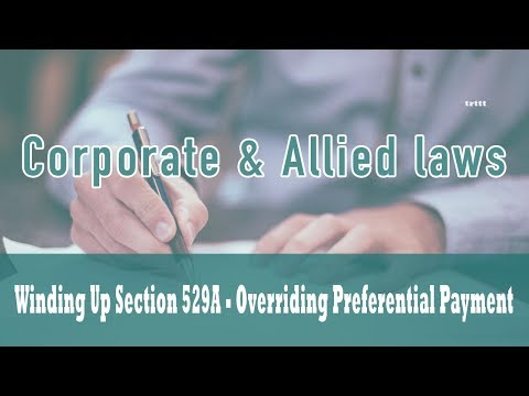 Winding Up | Part VII Of Companies Act 1956| Section 529A Overriding Preferential Payment | Class 36