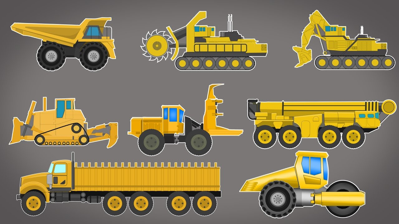 Giant vehicles | construction vehicles | cartoon video for kids ...