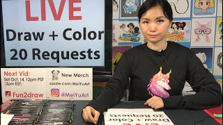 🔴 LIVE: Draw, Color 20 Request | Live Stream Fun Art | New Art Challenge | Mei Yu