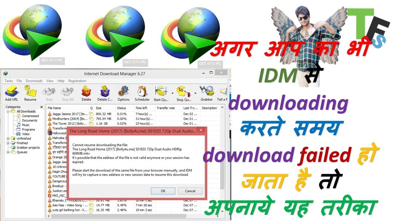 How to resume failed downloads in internet download manager Hindi/by  technicalfoultsolution