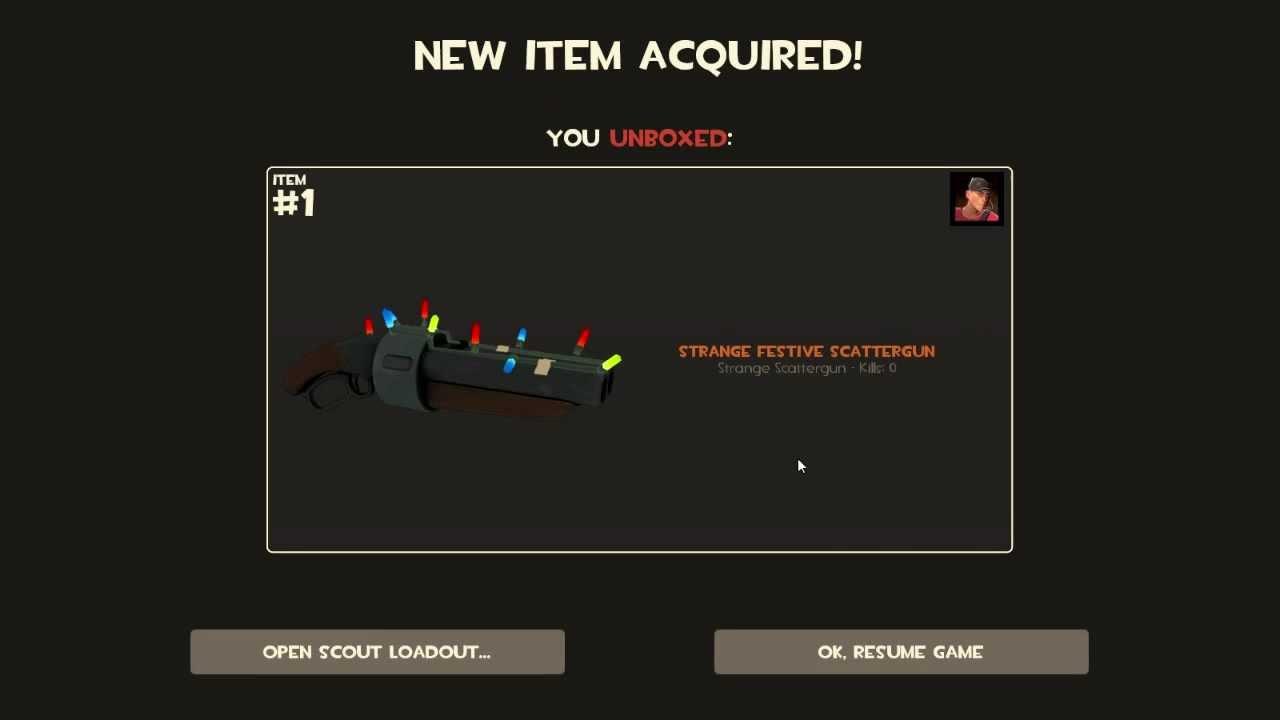 tf2  unboxing strange festive scattergun