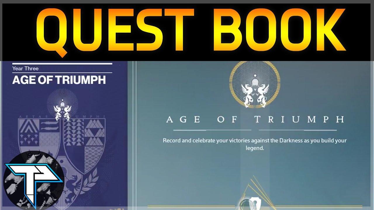 destiny age of triumph quest book - youtube