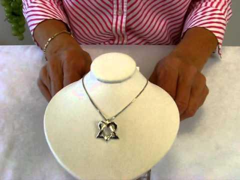 Jewish Jewelry Sterling Silver Star Of David Heart Pendant