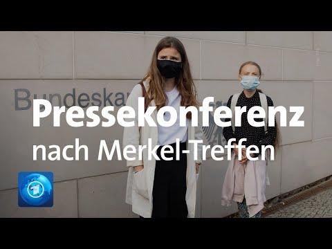 Klimaaktivistinnen Thunberg und Neubauer äußern sich nach Treffen mit Bundeskanzlerin Merkel