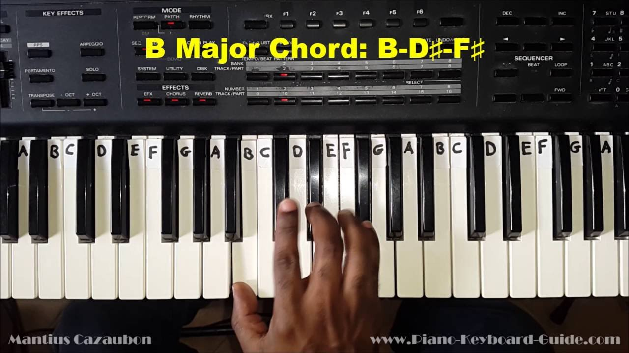 How to play the b major chord on piano and keyboard youtube how to play the b major chord on piano and keyboard hexwebz Gallery