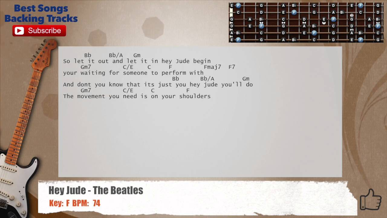 Hey Jude The Beatles Guitar Backing Track With Chords And Lyrics