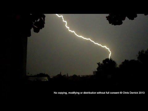 Near miss lightning strike caught on camera during a spectacular thunderstorm in Žilina, Slovakia