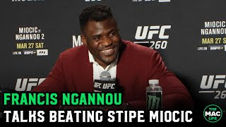 "Francis Ngannou talks knockout victory: ""I think Jon Jones makes sense next"" UFC Press Conference"