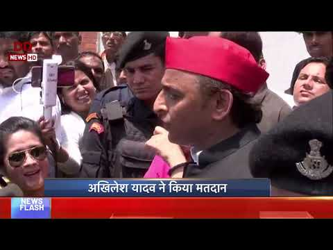 LS Election 2019: SP Chief Akhilesh Yadav briefs media after casting his vote