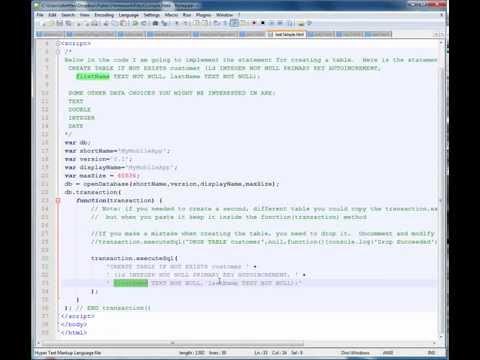 Web SQL Database Mini Tutorial