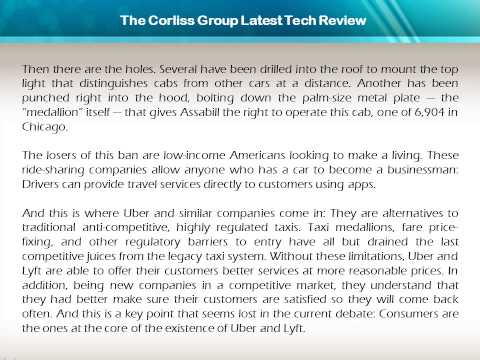 The Corliss Group Latest Tech Review: When Technology Helps Consumers Challenge the Status Quo