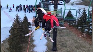 Mom Hangs on Tight to Little Girls Who Fell Out of Ski Chair
