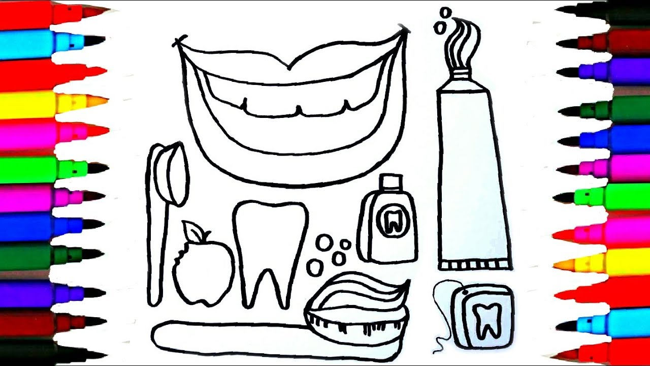 How to Draw Dentist Kit l Dental Care Coloring Drawing Pages Videos ...
